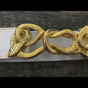 Bebe vintage interlock snake metal belt small